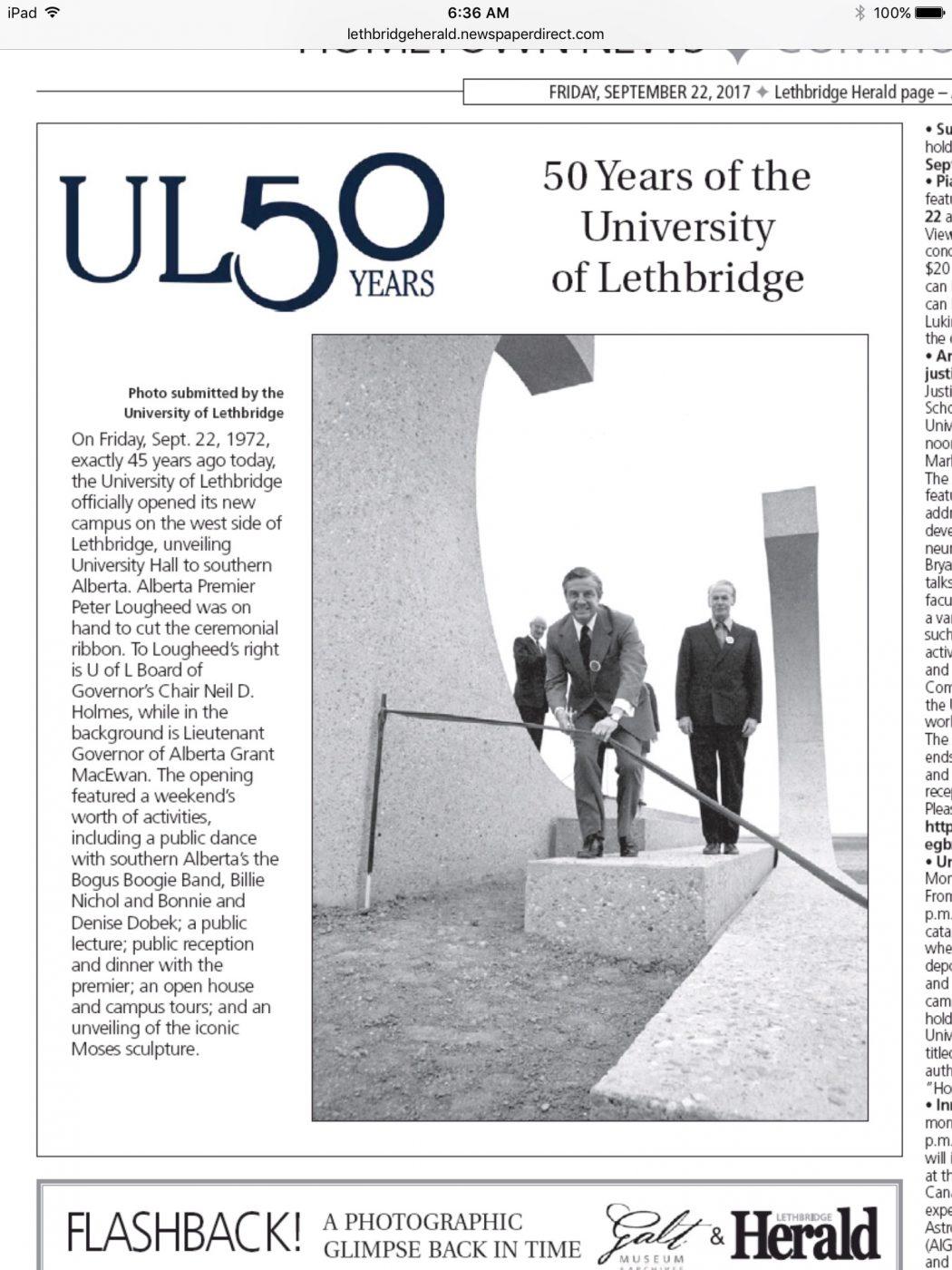 University of Lethbridge Turns 50 Article
